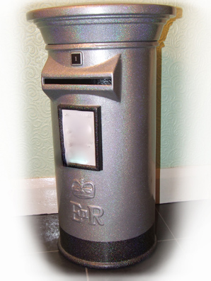 Silver Post box Bling box.JPG